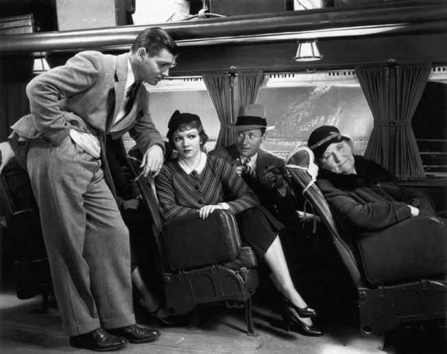 It Happened One Night (1934)  Directed by Frank Capra Shown from left: Clark Gable, Claudette Colbert, Roscoe Karns